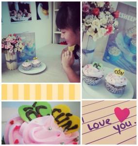 Làm bánh cupcake viết chữ yêu thương
