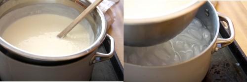 Đặt sữa chua vào bát kim loại và để vào trong âu nước đá